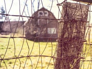 Ein Bauernhaus steht auf weitem Grundstück hinter einem Drahtzaun