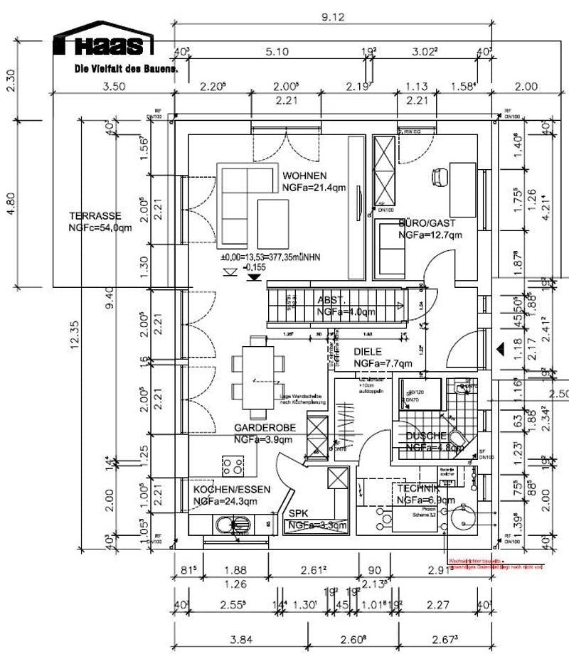 Grundriss Erdgeschoss eines Einfamilienhauses von Haas Haus