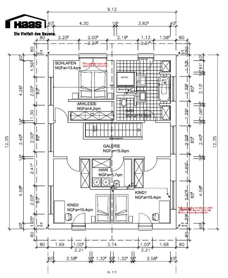 Grundriss Obergeschoss eines Einfamilienhauses von Haas Haus