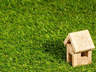 Haus aus Holzklötzen steht auf Rasen