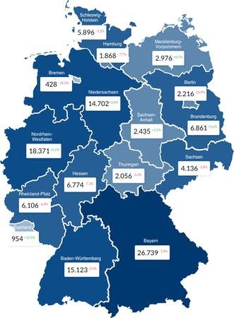 Deutschlandkarte mit Entwicklung der Baugenehmigungen der Bundesländer