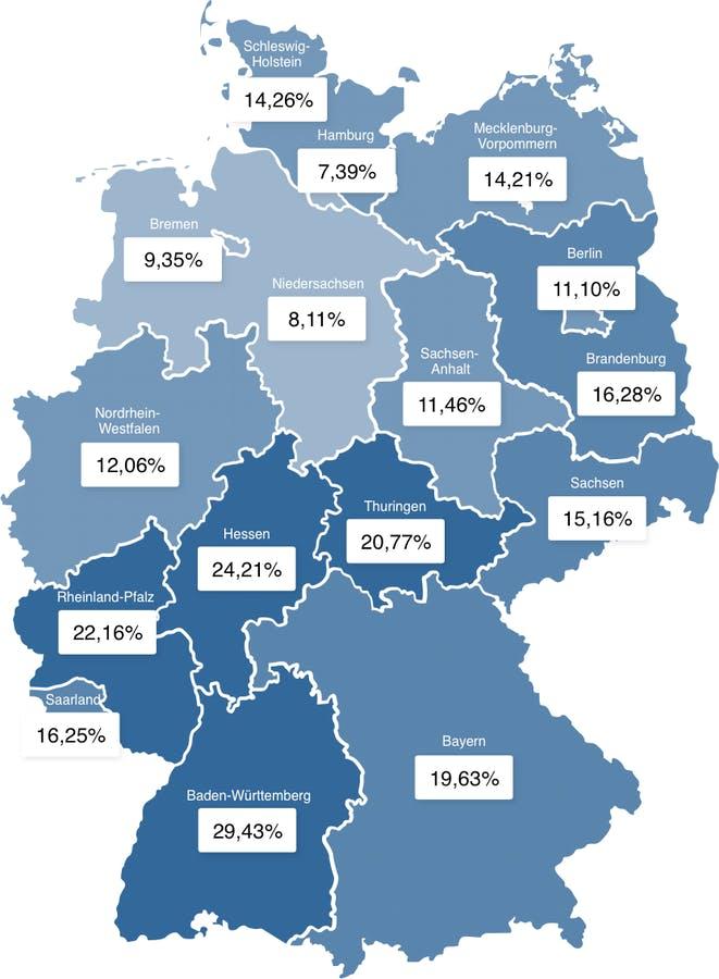 Deutschlandkarte mit prozentualem Fertighausanteil der Bundesländer