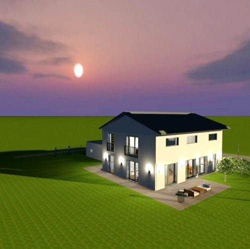 Haus als 3D Entwurf im dunkeln