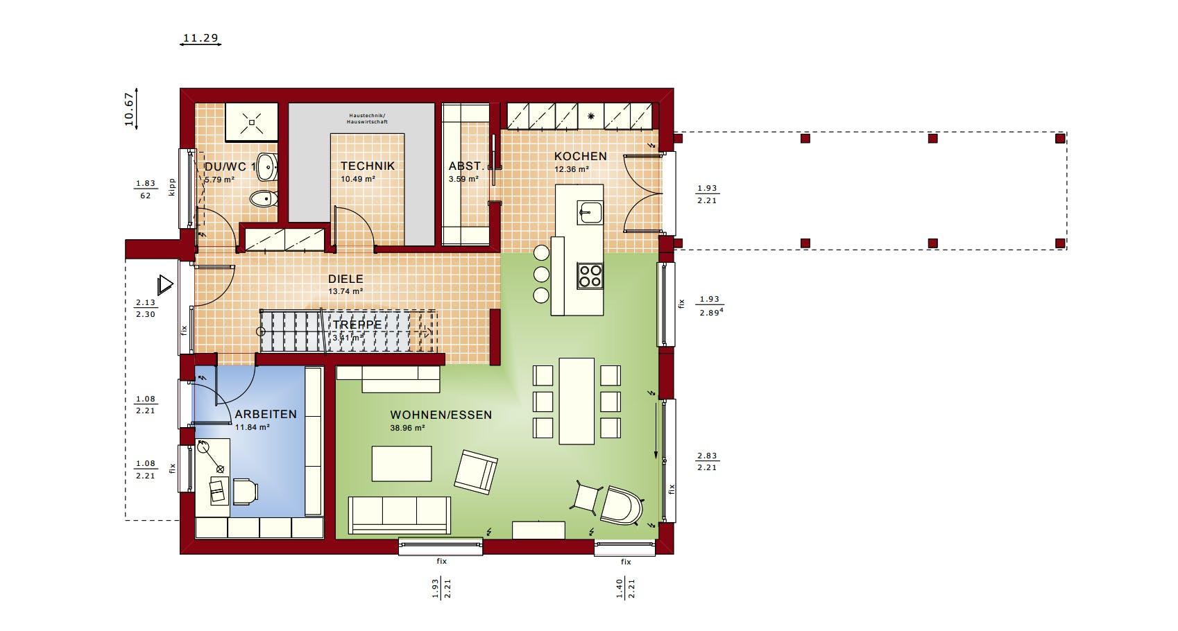 Grundriss vom Erdgeschoss eines Bien-Zenker Hauses