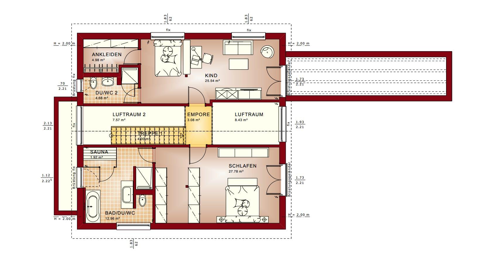 Grundriss vom Obergeschoss mit Galerie eines Bien-Zenker Hauses