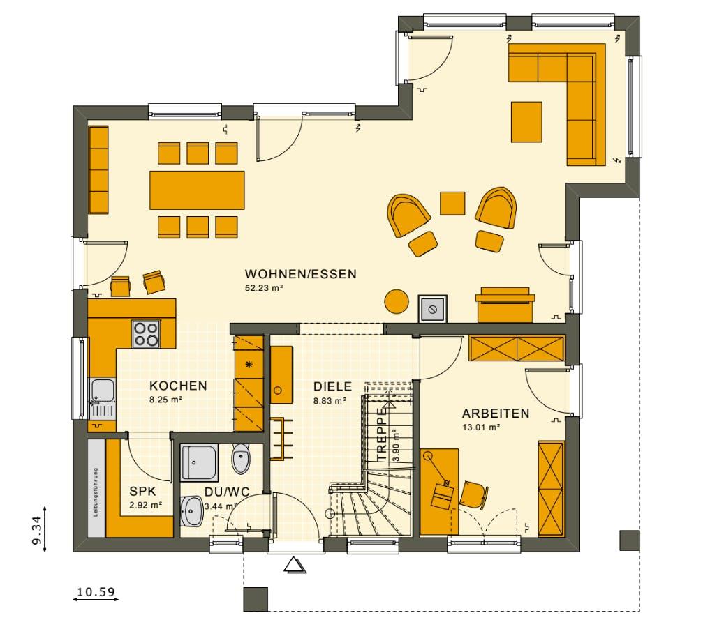 Grundriss Obergeschoss eines neugebauten Living Hauses