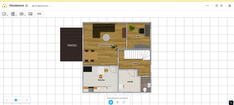 HomeByMe Grundriss 2D mit Möbel