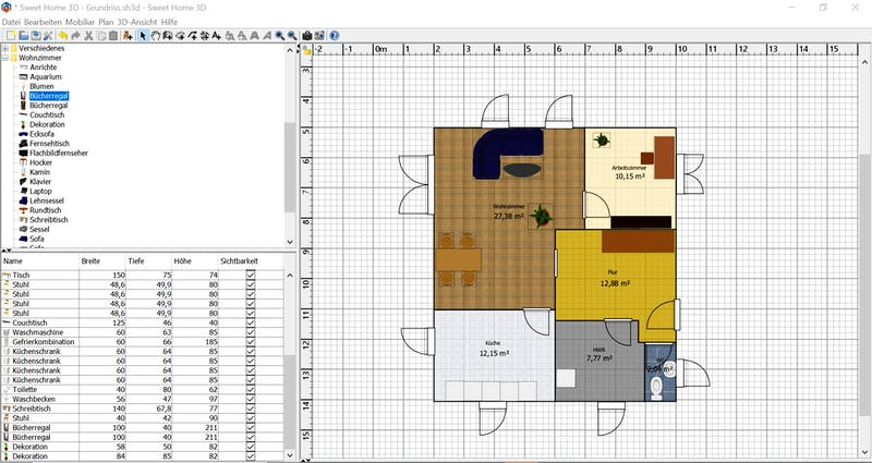 HomeSweetHome Grundriss 2D mit Möbel