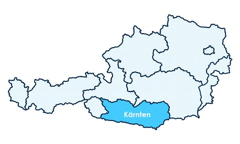 Karte Österreichs mit Hervorhebung von Kärnten