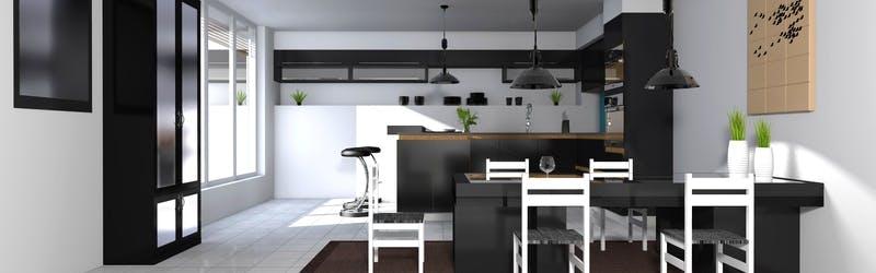 Moderne, bodenständige Küche mit Theke