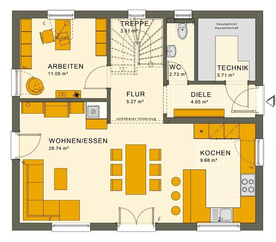 Grundriss vom Erdgeschoss eines Living Hauses