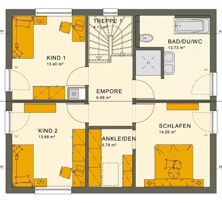 Grundriss vom Obergeschoss eines Living Hauses