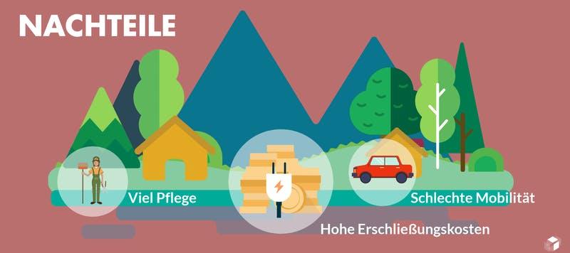 Grafik mit Nachteilen für ein Haus auf dem Land