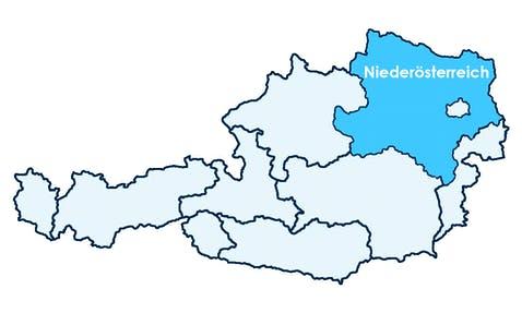 Karte Österreichs mit Hervorhebung von Niederösterreich