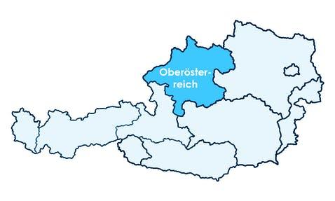 Karte Österreichs mit Hervorhebung von Oberösterreich