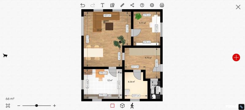 Roomle Grundriss 2D mit Möbel