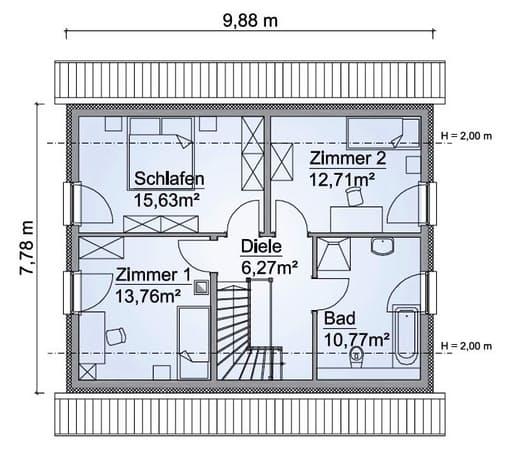 Scanhaus SH 122 D Variante A Dachgeschoss