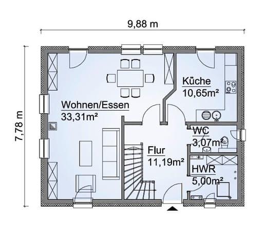 Scanhaus SH 122 FS Variante A Erdgeschoss