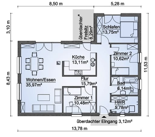 Scanhaus SH 122 WB Variante A Erdgeschoss