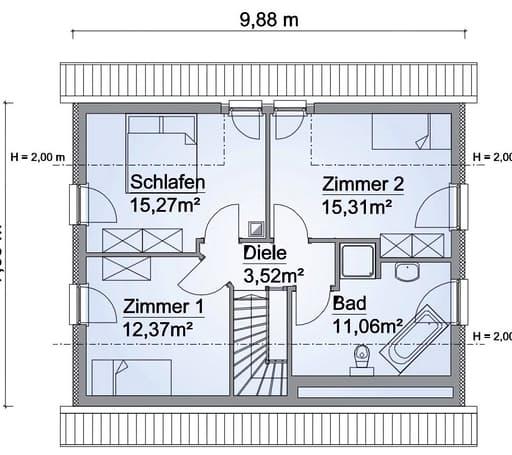 Scanhaus SH 124 Variante A Dachgeschoss