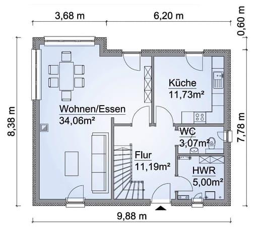 Scanhaus SH 124 Variante A Erdgeschoss