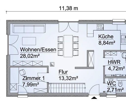 Scanhaus SH 127 S Variante A Erdgeschoss