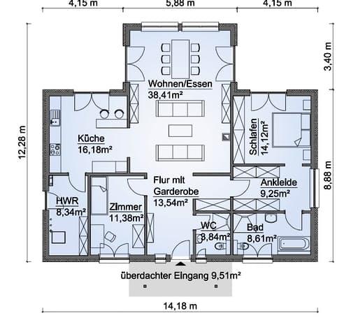 Scanhaus SH 136 WB Variante D Erdgeschoss