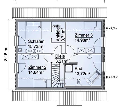Scanhaus SH 136 XXL Dachgeschoss