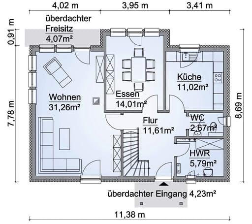 Scanhaus SH 154 Variante D Erdgeschoss