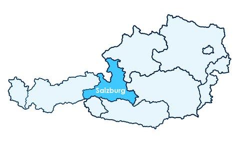 Karte Österreichs mit Hervorhebung von Salzburg