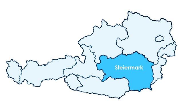 Karte Österreichs mit Hervorhebung der Steiermark