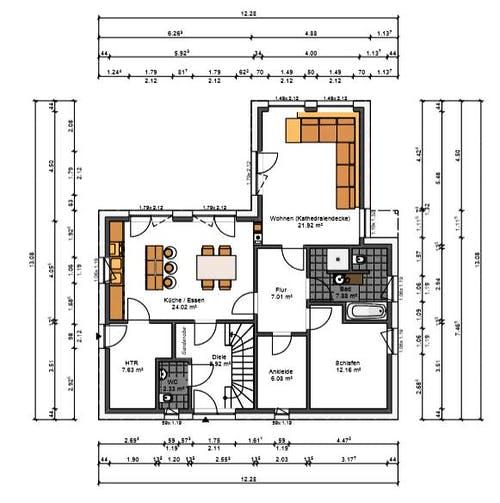 Selbst angefertigter Grundriss der Bauherren von ihrem Traumhaus