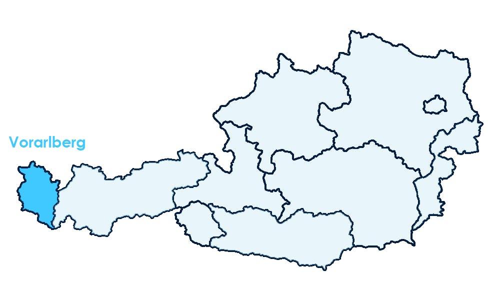 Karte Österreichs mit Hervorhebung von Vorarlberg