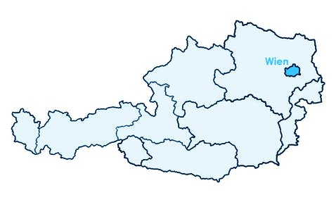 Karte Österreichs mit Hervorhebung von Wien
