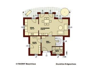Ambiente 135 von Favorit Massivhaus Grundriss 1