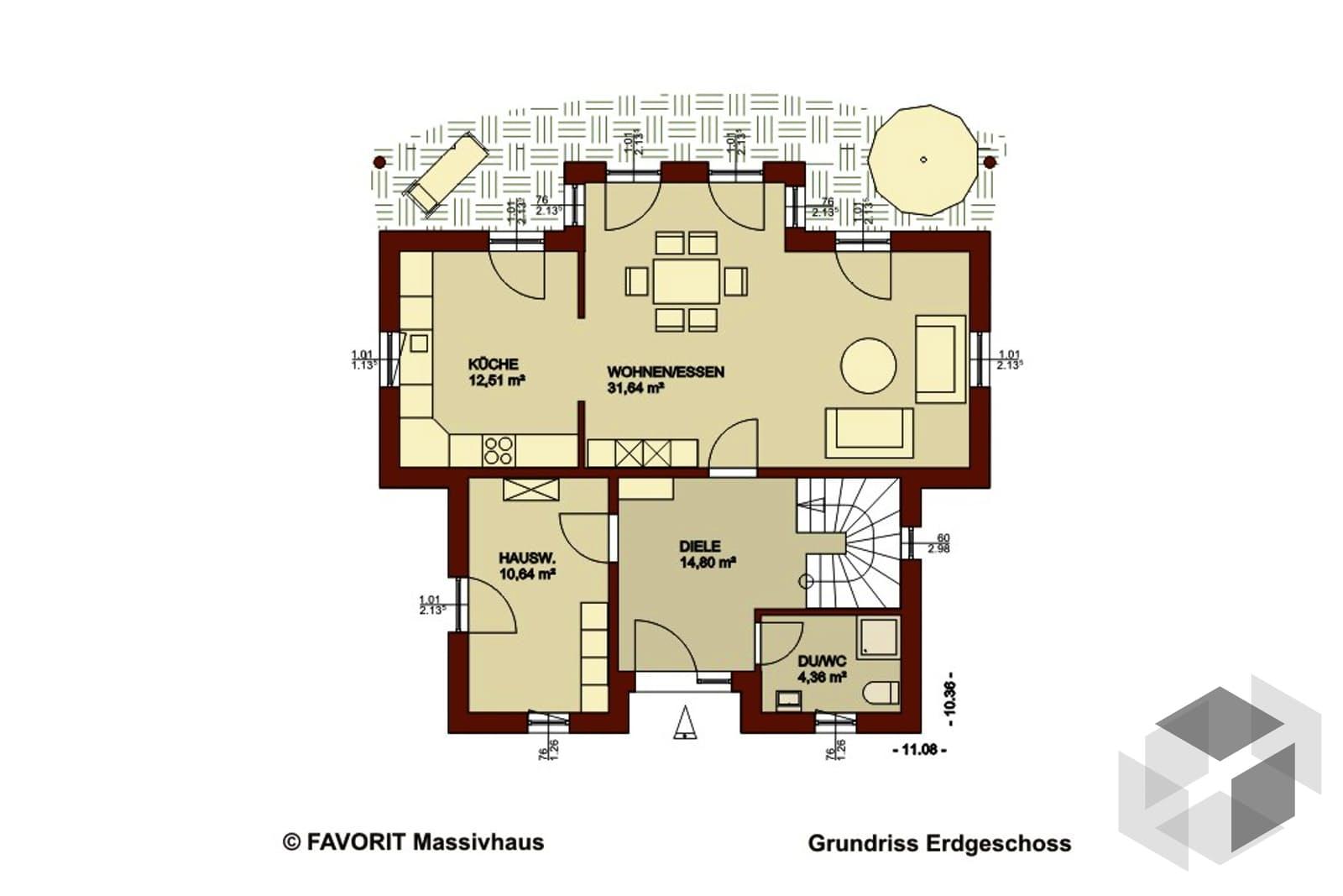 ambiente 135 von favorit massivhaus komplette daten bersicht. Black Bedroom Furniture Sets. Home Design Ideas
