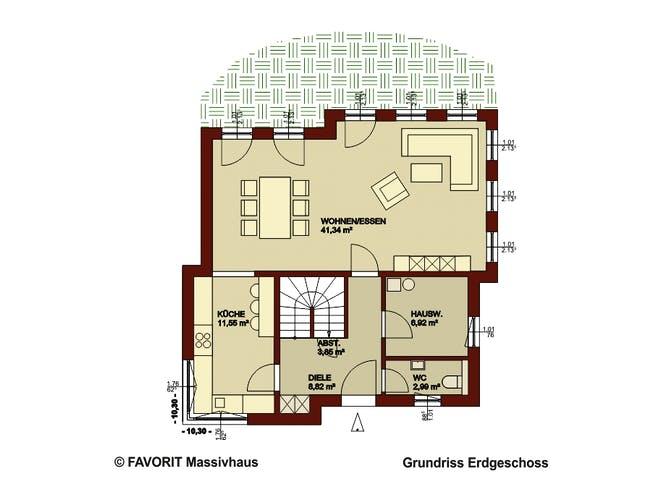 Ambiente 141 von Favorit Massivhaus Grundriss 1