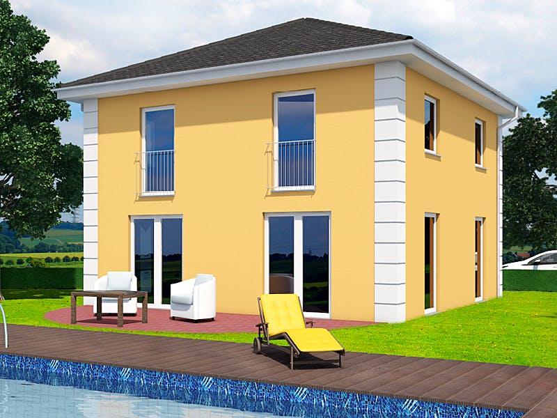 Gelbe Stadtvilla von A+ Massivhaus