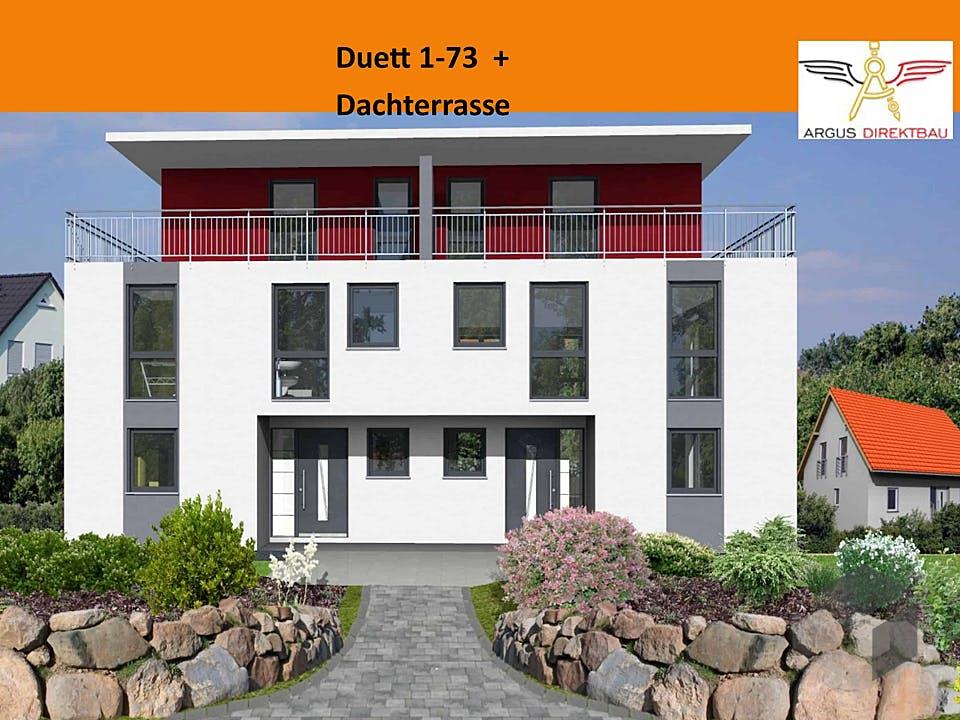Duett 1-73 + Dachterrasse von ARGUS Direktbau Außenansicht