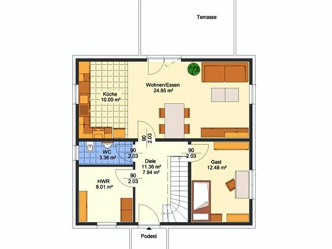 Olina von AVOS Hausbau Grundriss 1