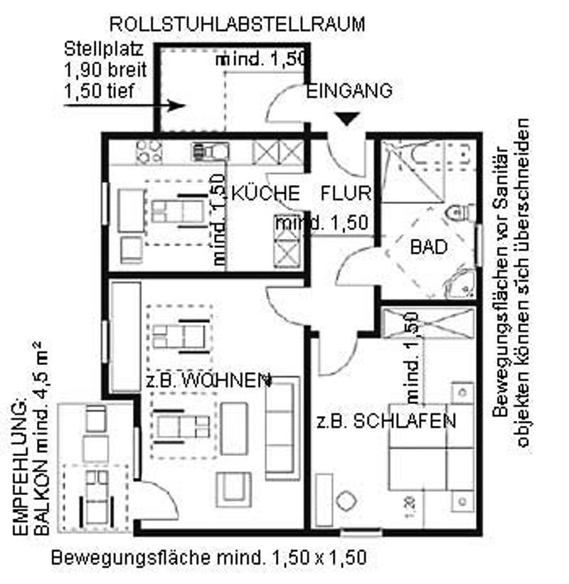 Grundriss EG eines barrierefreien Hauses