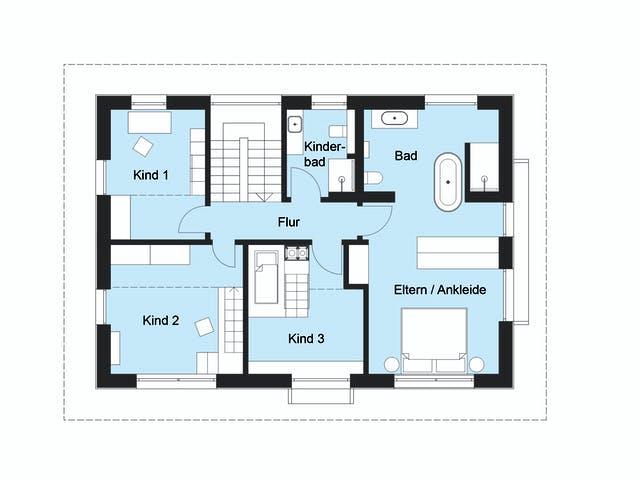 Grundriss 1 Elternschlafzimmer  3 Kinderzimmer