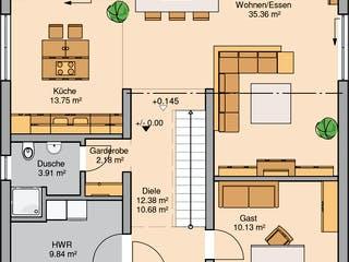 Bauhaus Linea von Kern-Haus Grundriss 1