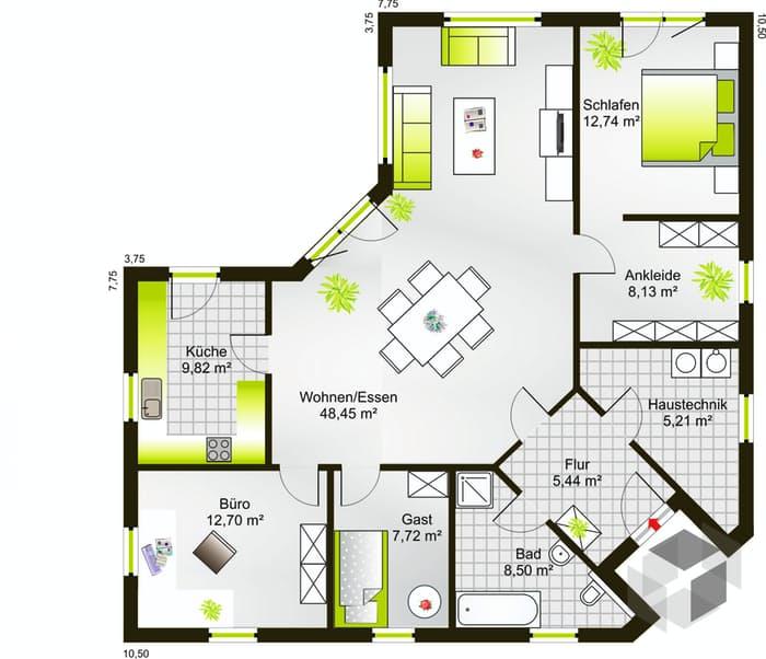 Fertighaus bungalow grundriss  Bungalow 117 WD (inactive) von DREVO HAUS | komplette ...