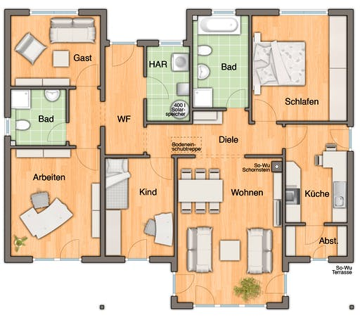 Bungalow 128 Var. Trend floor_plans 1