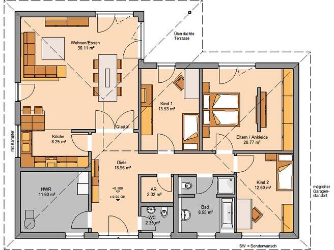 Kern Haus - Bungalow Balance Klinker Floorplan 1