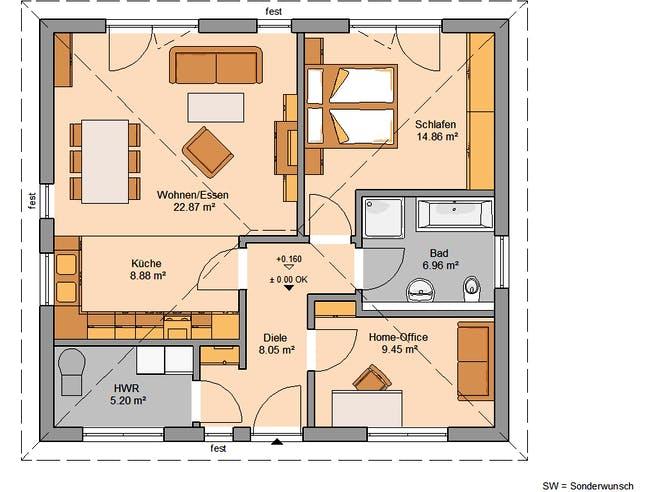 Bungalow Easy von Kern-Haus Grundriss 1