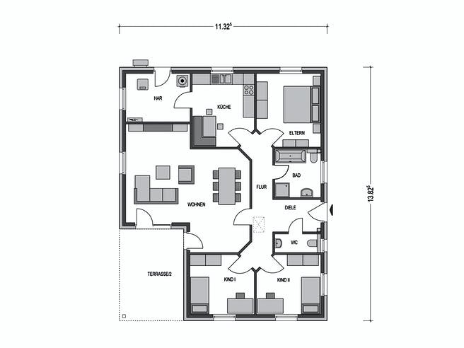 Bungalow M3000 Floorplan 1