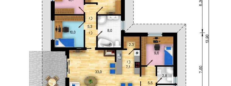 Bungalow Mallorca Floorplan 1
