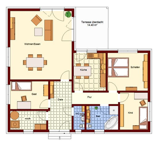 Bungalow Petershagen Floorplan 1